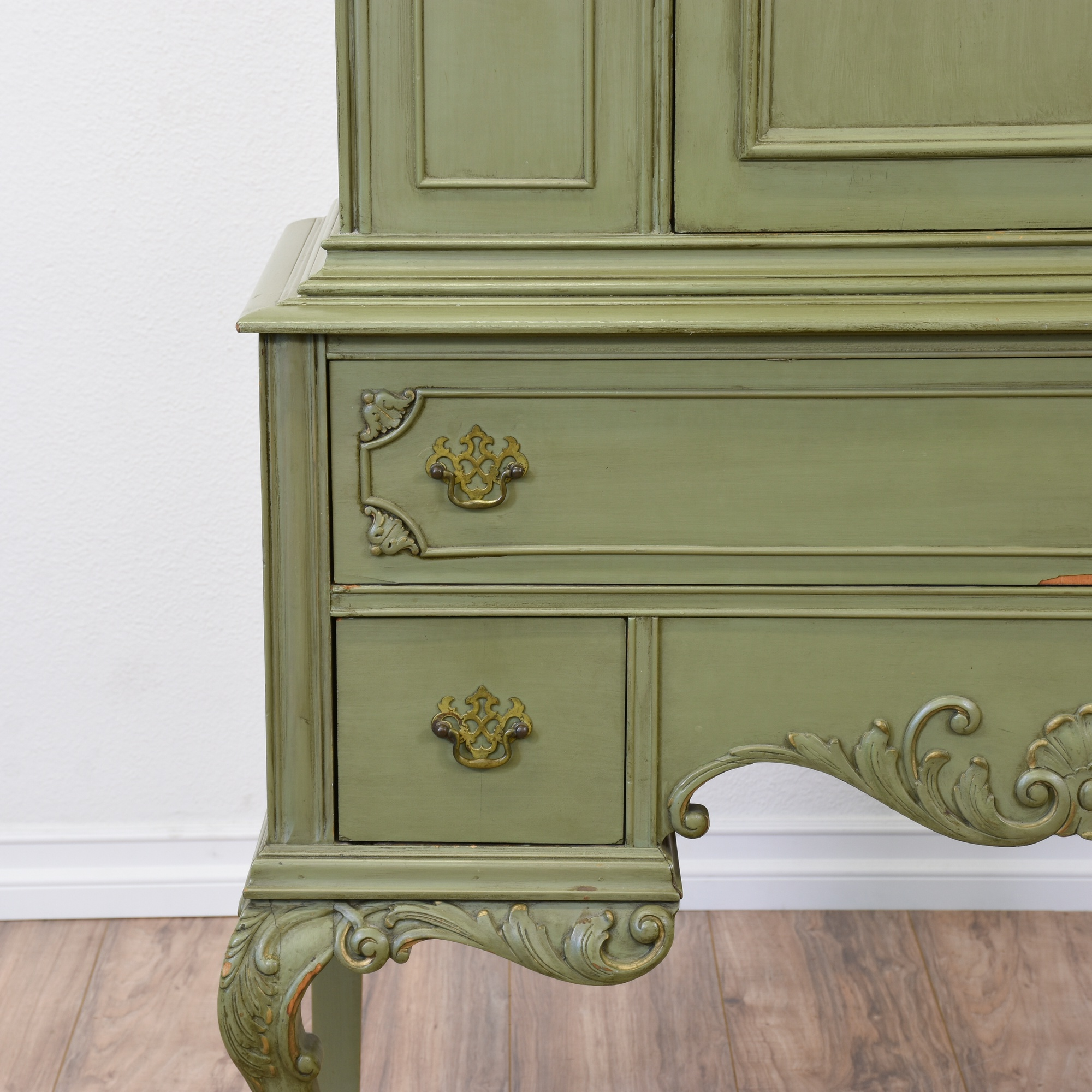 Sage Green Carved French Provincial Armoire