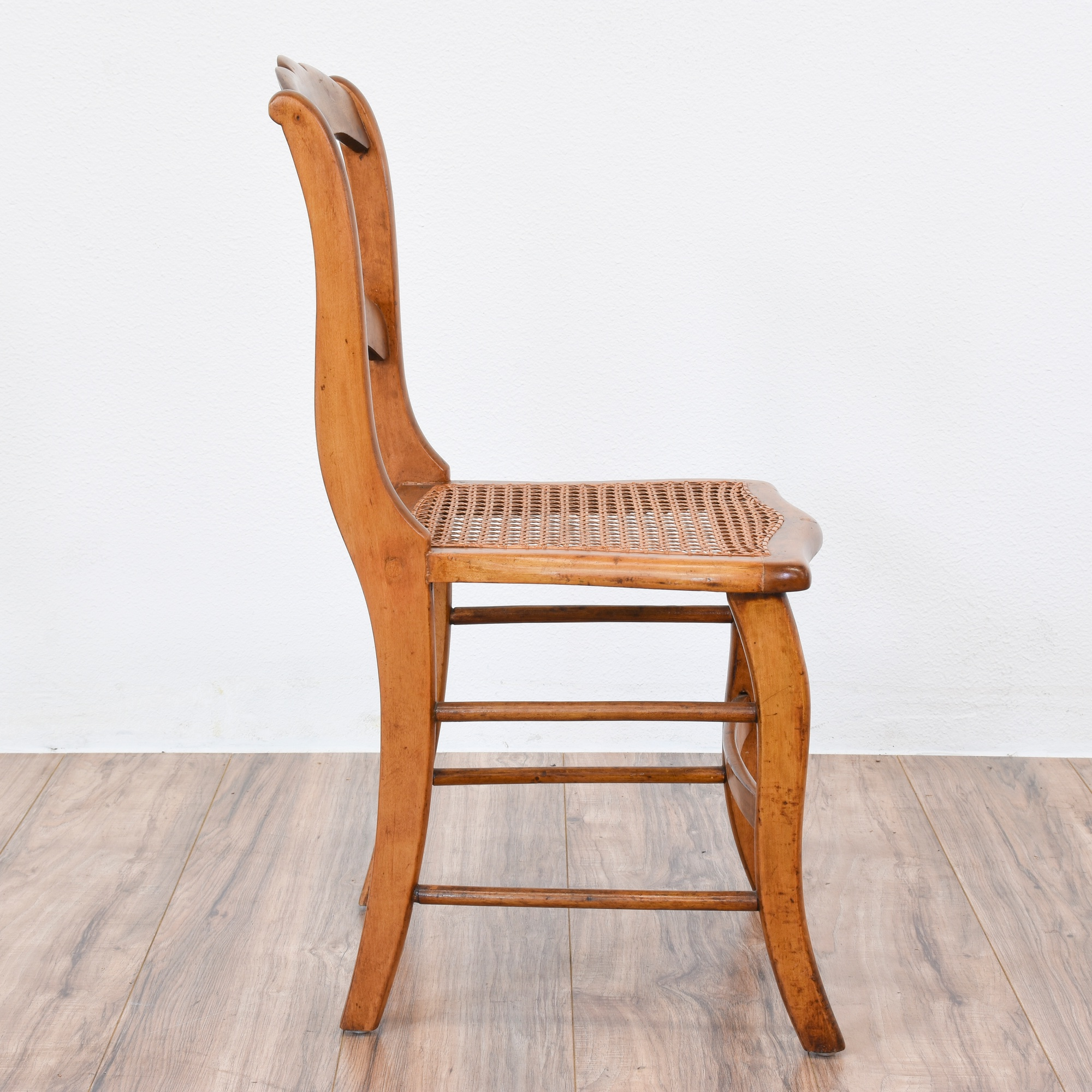 Curved Wood Ladder Back Chair W Caning Loveseat Vintage Furniture San Diego Los Angeles