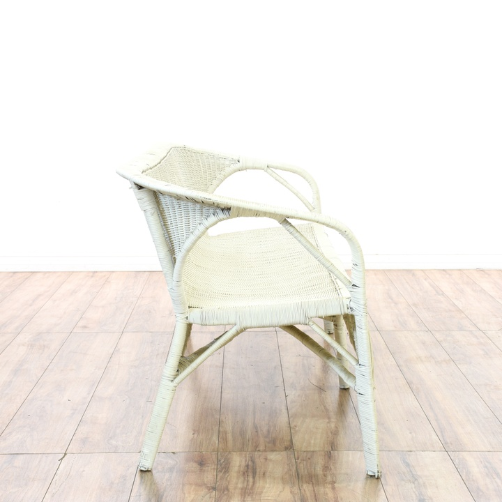 White Wicker Diamond Shape Loveseat Loveseat Vintage Furniture San Diego