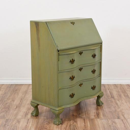 green shabby chic chippendale secretary desk loveseat vintage furniture san diego los angeles. Black Bedroom Furniture Sets. Home Design Ideas