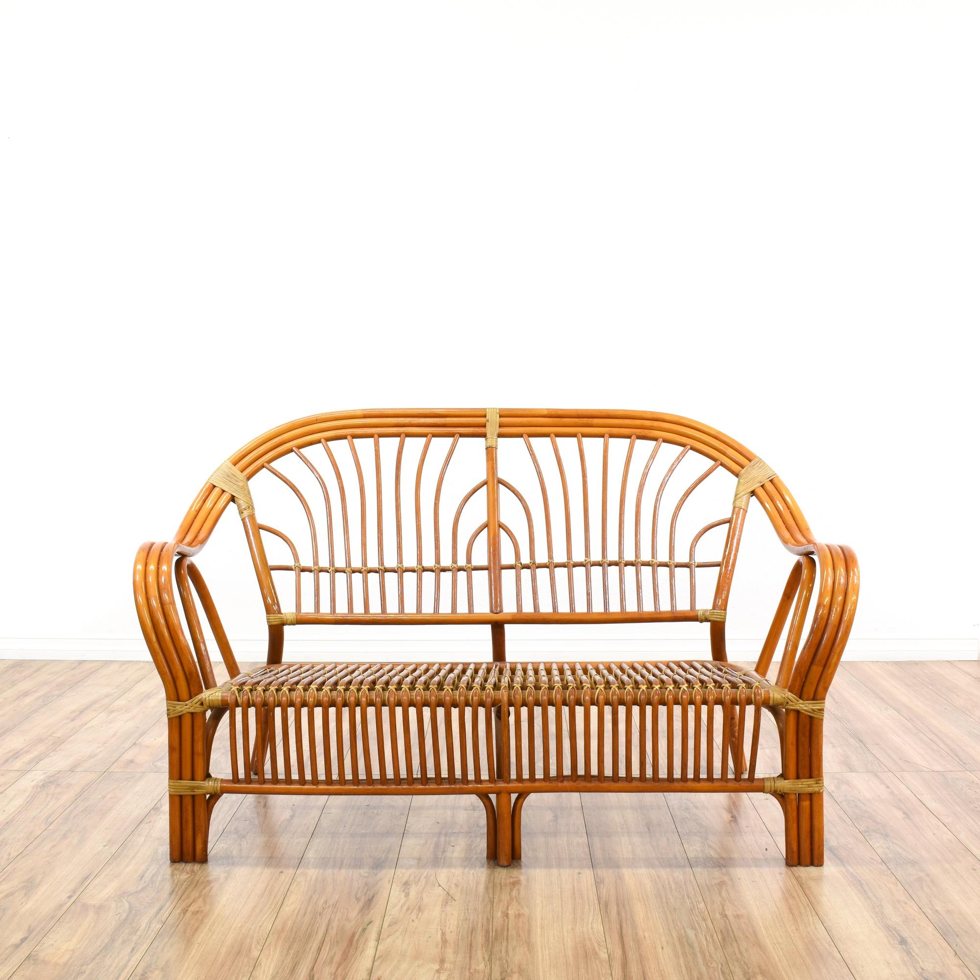 bohemian curved rattan loveseat sofa loveseat vintage furniture san diego los angeles. Black Bedroom Furniture Sets. Home Design Ideas