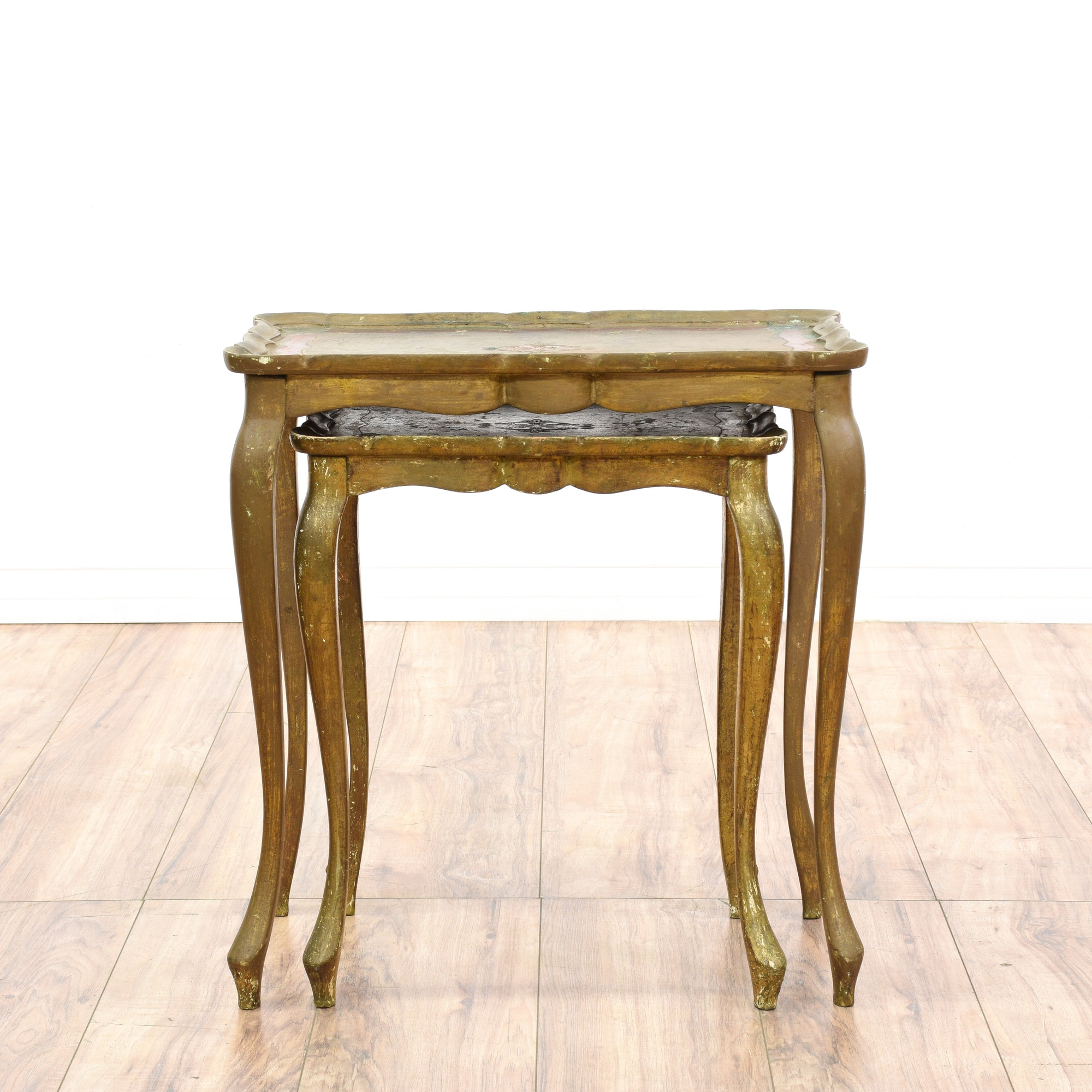 Gold Nesting Tables ~ Distressed gold nesting tables loveseat vintage