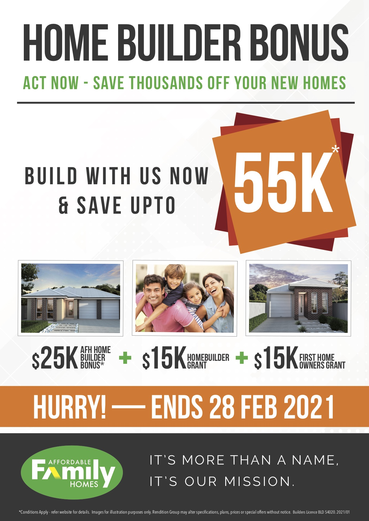 Home Builder Bonus - save up to 55k!*
