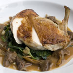 Breast of chicken with wild garlic and mushrooms