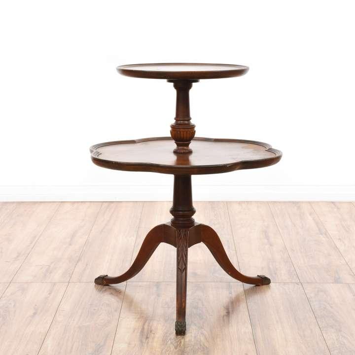 Hexagon Walnut Glass Top End Table Cabinet Loveseat