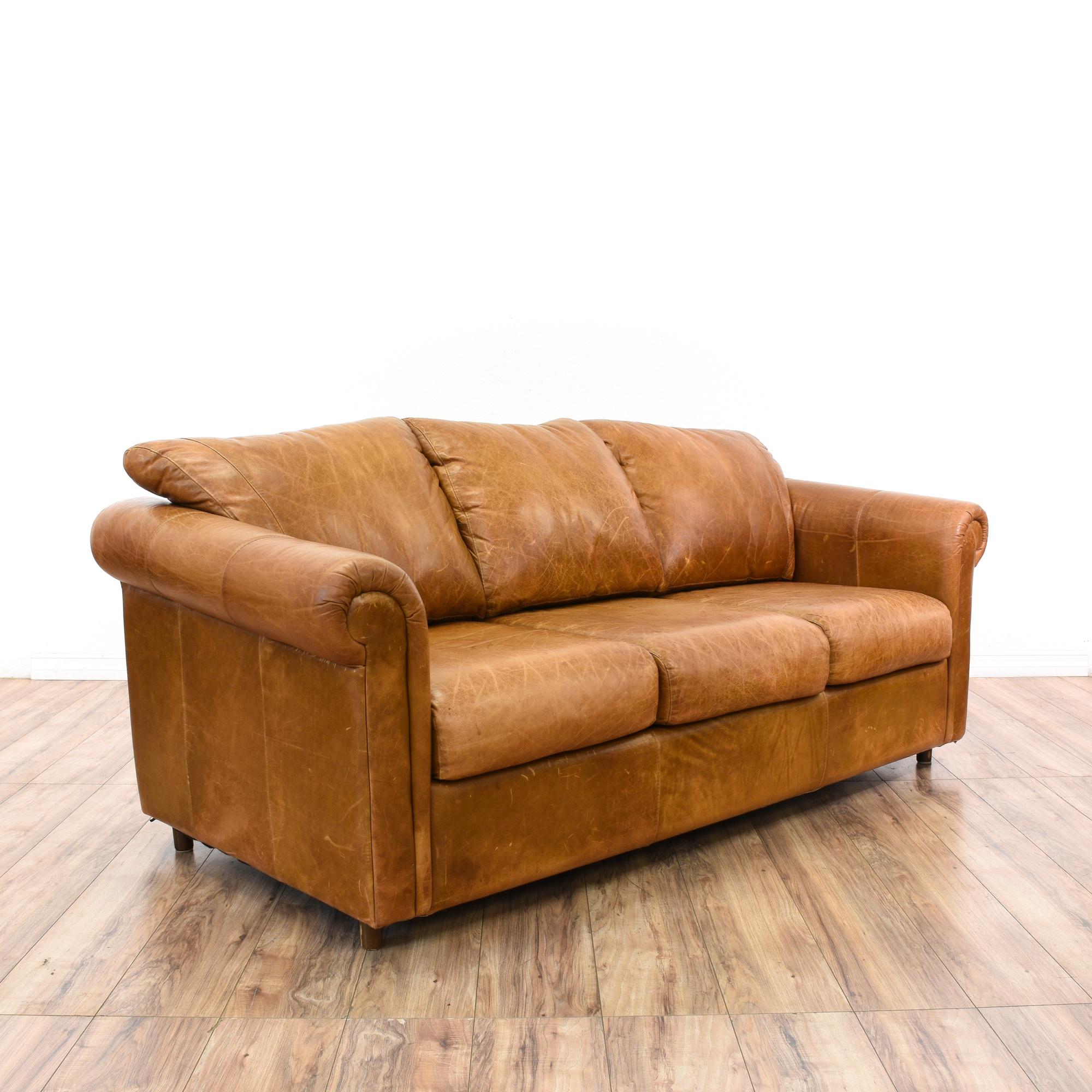 Distressed Camel Leather Sleeper Sofabed Loveseat Vintage Furniture San Diego Los Angeles