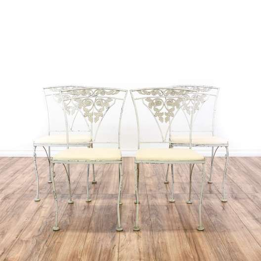 Set of 4 White Floral Wrought Iron Patio Chairs