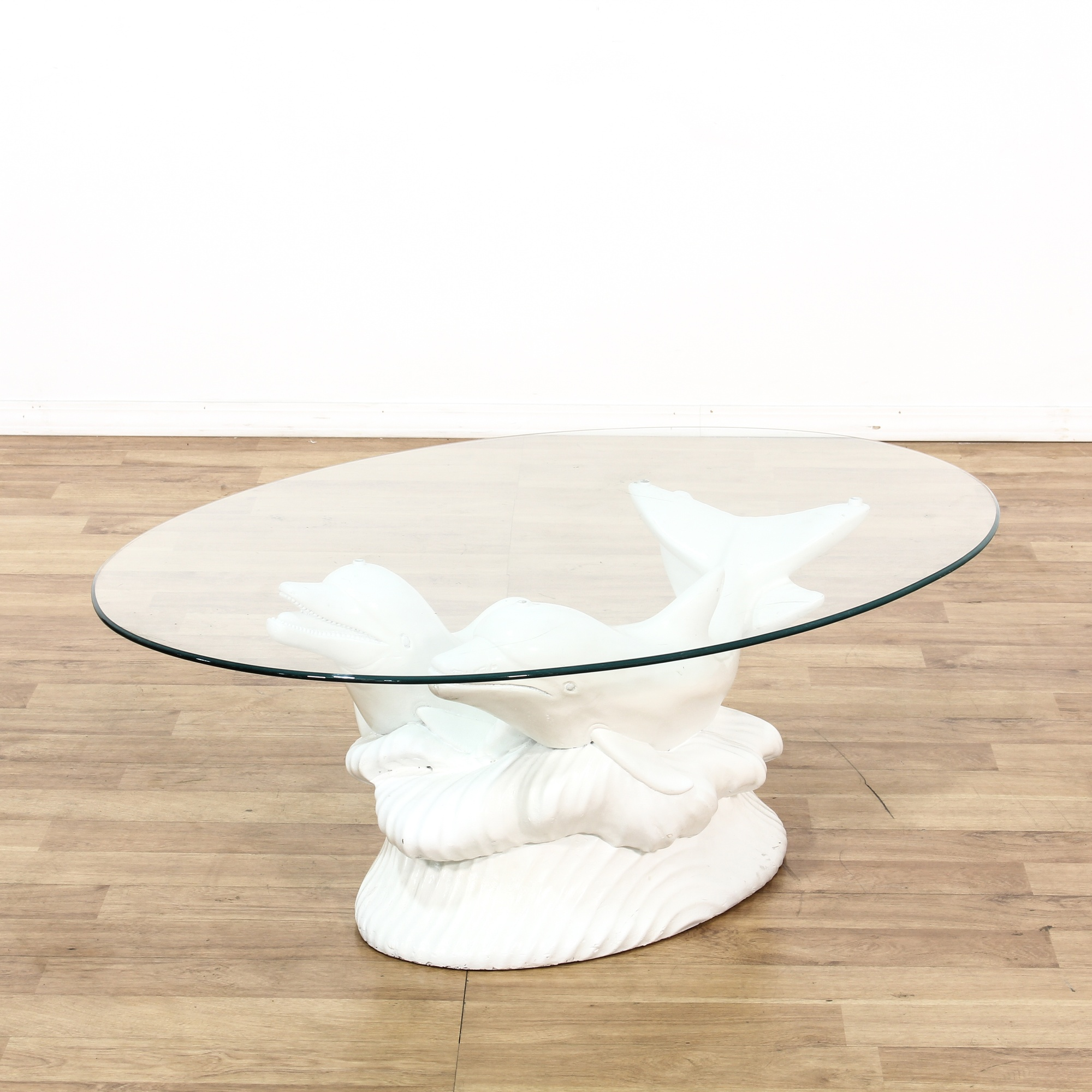 Glass Top Dolphin Sculpture Coffee Table Loveseat Vintage Furniture San Diego Los Angeles