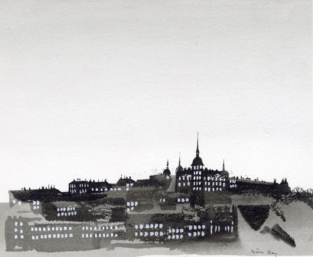 """Bild av Björn Berg till """"Dagjämningen"""" vers av Alf Henrikson (inte nödvändigt kanske), införd i DN, namn & Nytt 21 mars 1962"""