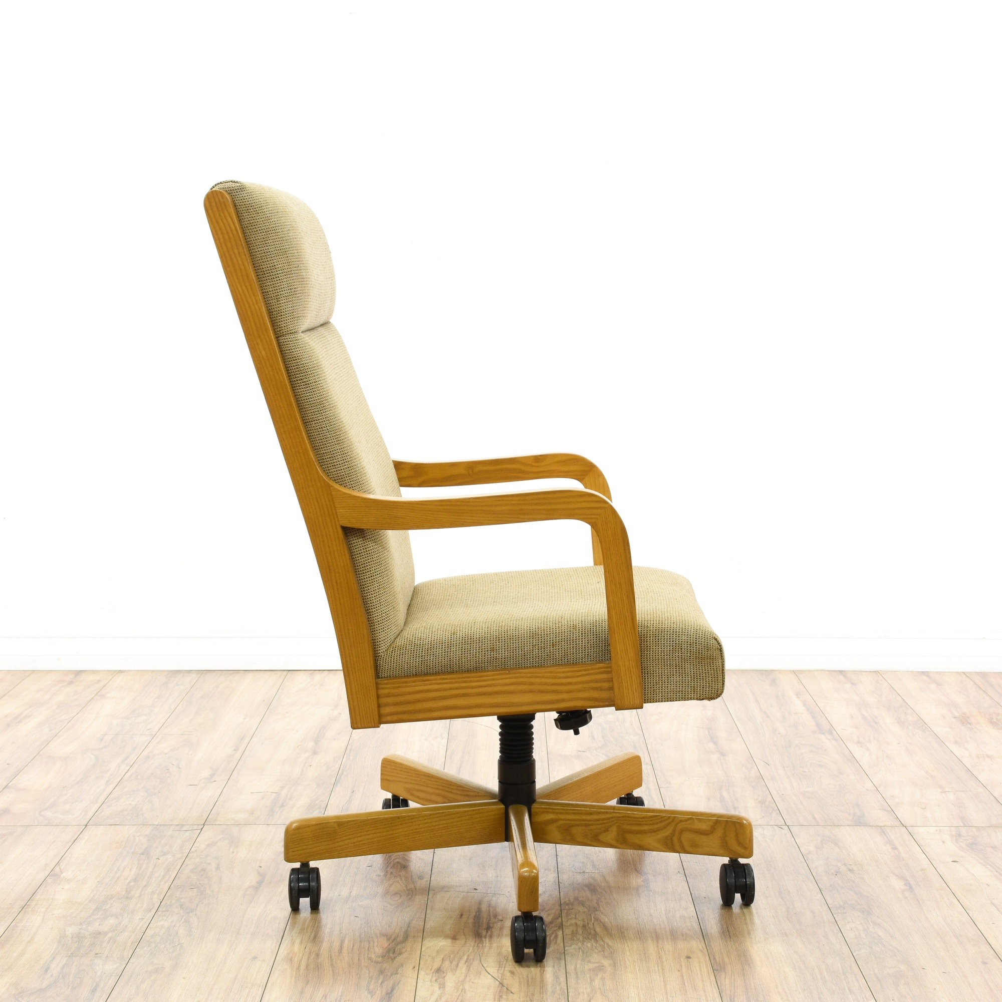 Mid Century Modernist High Back Or Desk Chair W New: Mid Century Modern Light Oak Beige Office Chair