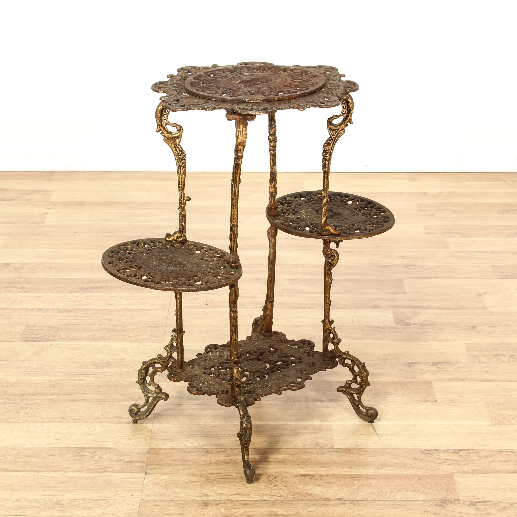 Carved metal patina tiered plant stand loveseat vintage furniture san diego los angeles - Tiered metal plant stand ...