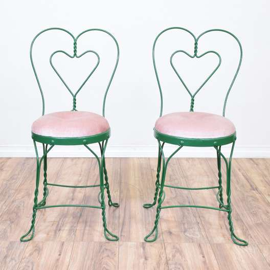 Pair of Green Ice Cream Parlor Chairs