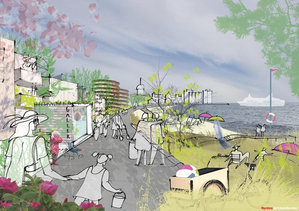 Illustration Strandpromenaden Hamnstaden Ystad Bild: Nyréns Arkitektkontor