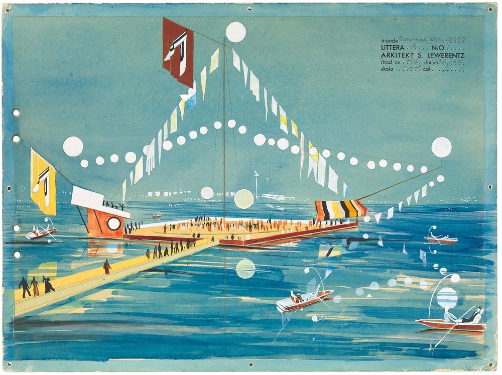 Floating dance floor. Stockholm exhibition 1930. ArkDes collection.