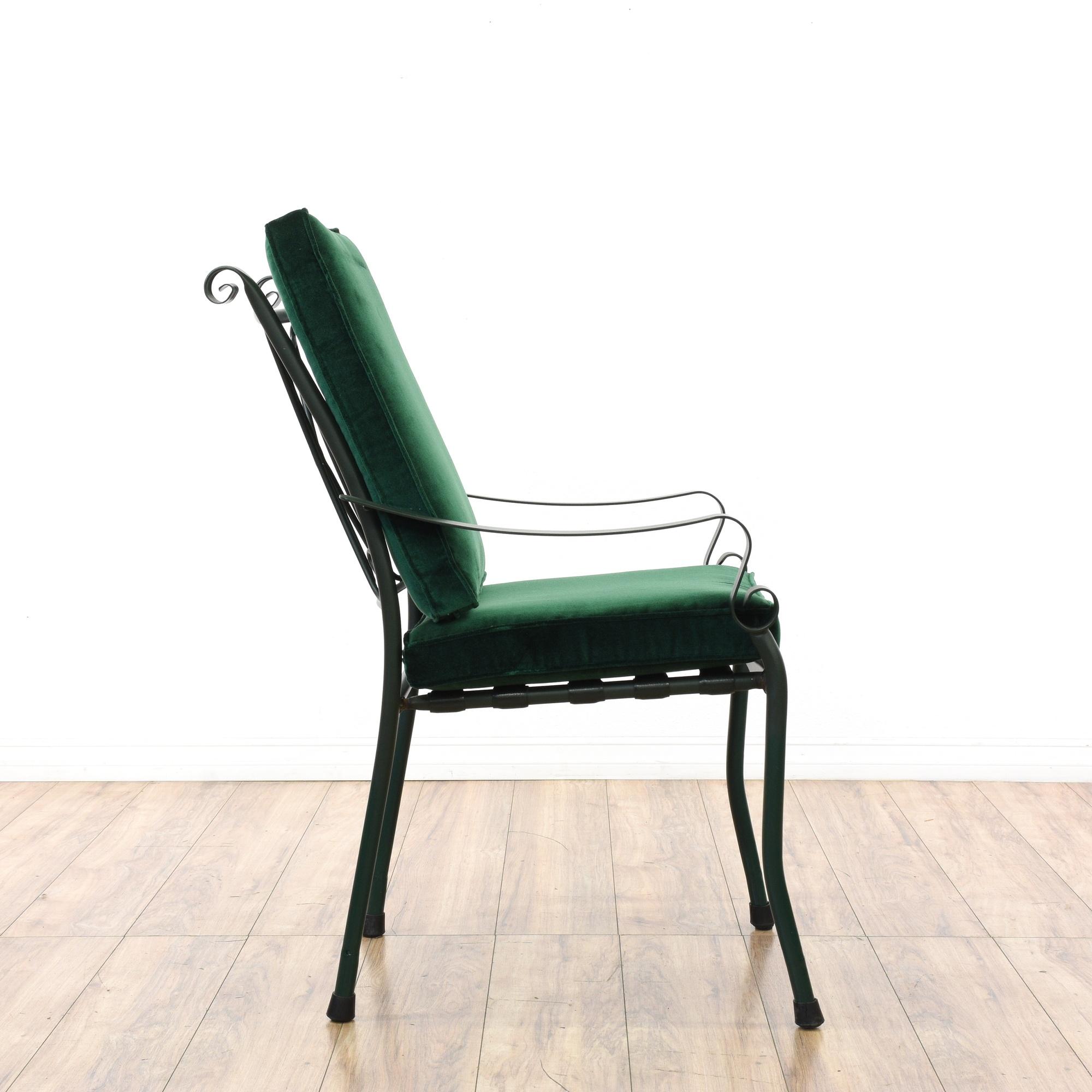 Set Of 6 Green Velvet Metal Patio Dining Chairs Loveseat