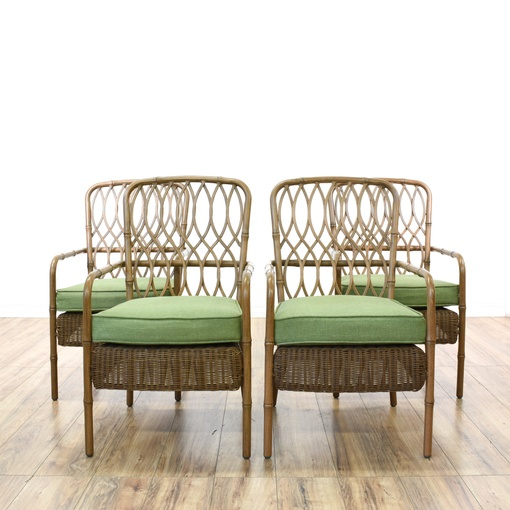 "Set of 4 ""Hampton Bay"" Wicker & Metal Patio Chairs"