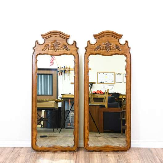 Pair of Carved Cottage Chic Mirrors