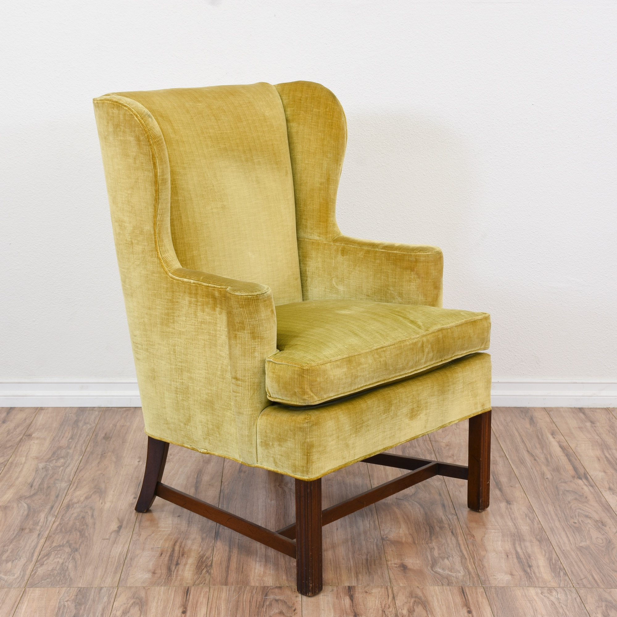 "Hickory Chair"" Yellow Gold Velvet Wingback Chair"