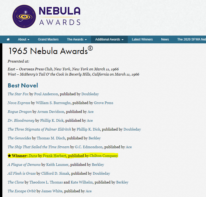 Screenshot of the Nebula Awards 1965 awards archive page.