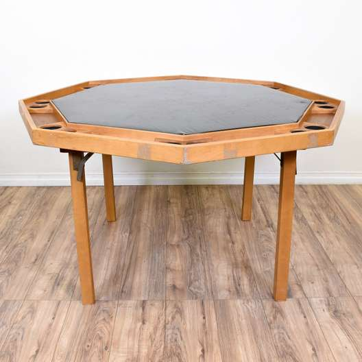 Folding Octagon Card Game Table w/ Cupholders