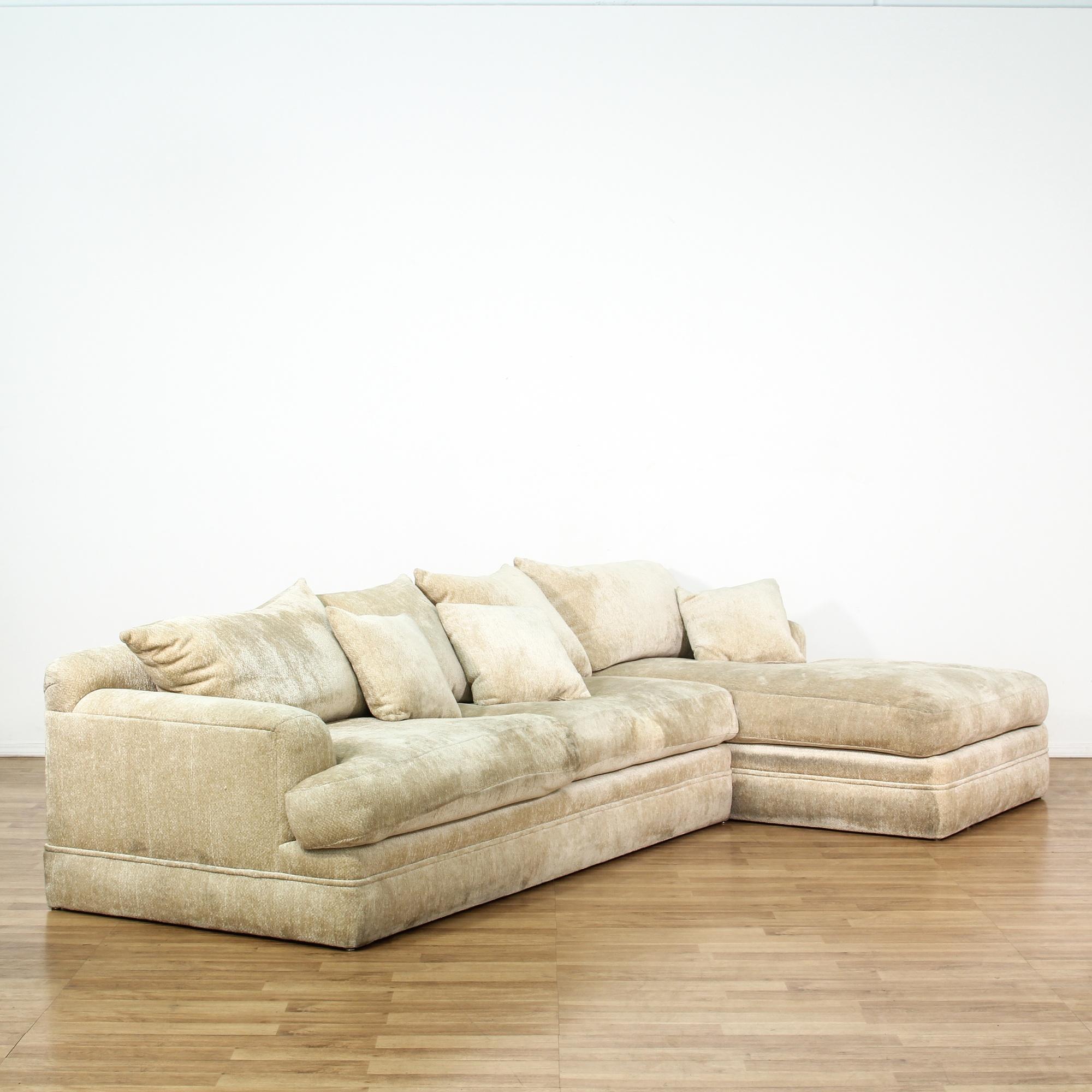2 Piece Contemporary Cream Sectional Sofa