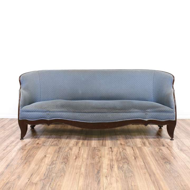 Mid Century Modern Green Vinyl Sofa Loveseat Vintage