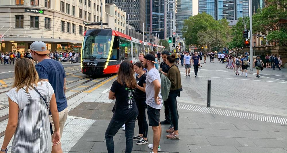 Röd spårvagn kör fram på Sydneys huvudgata.