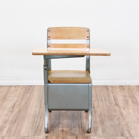 Stupendous Vintage Metal School Desk W Attached Chair Loveseat Unemploymentrelief Wooden Chair Designs For Living Room Unemploymentrelieforg