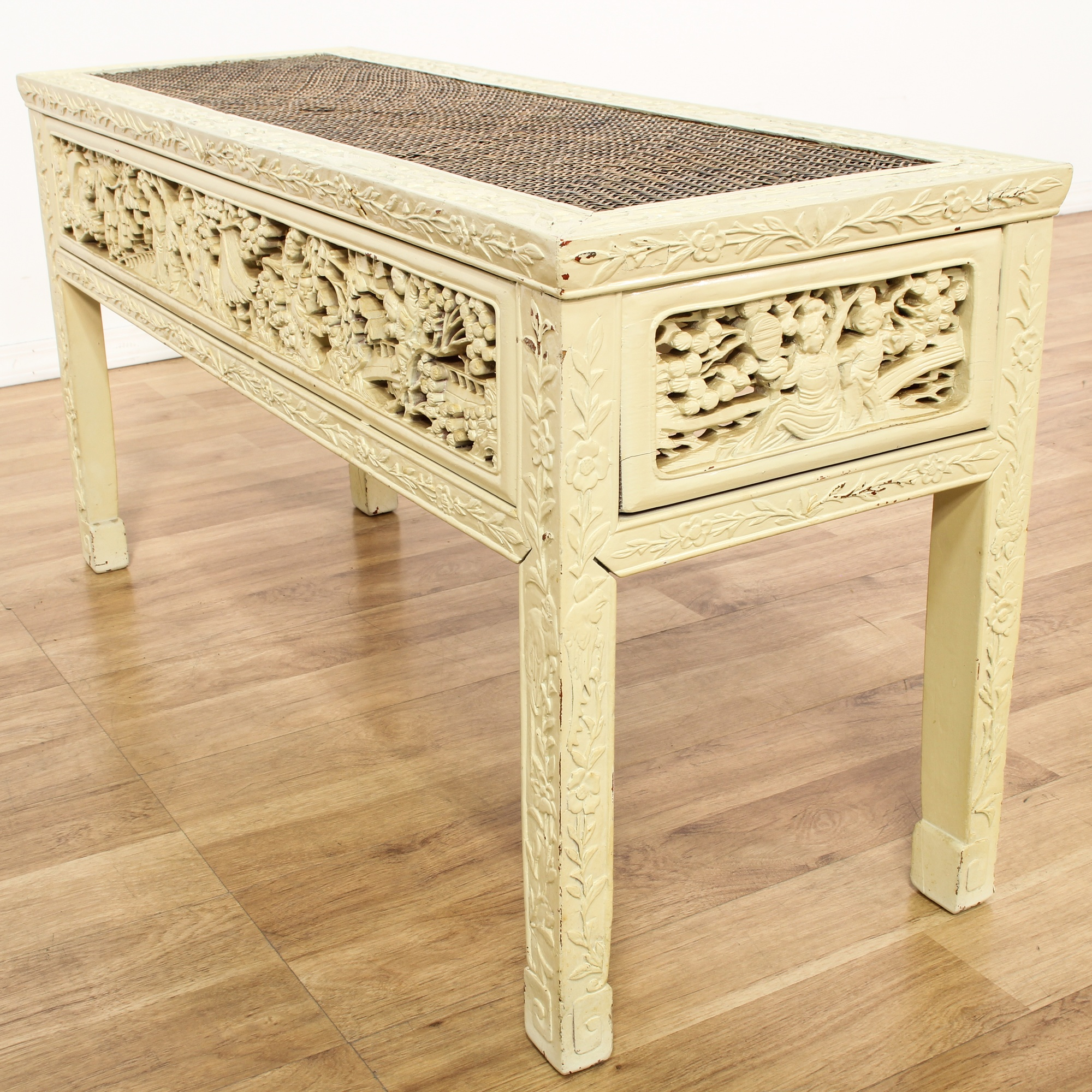 Chinese style ivory painted console table loveseat for Oriental furniture los angeles