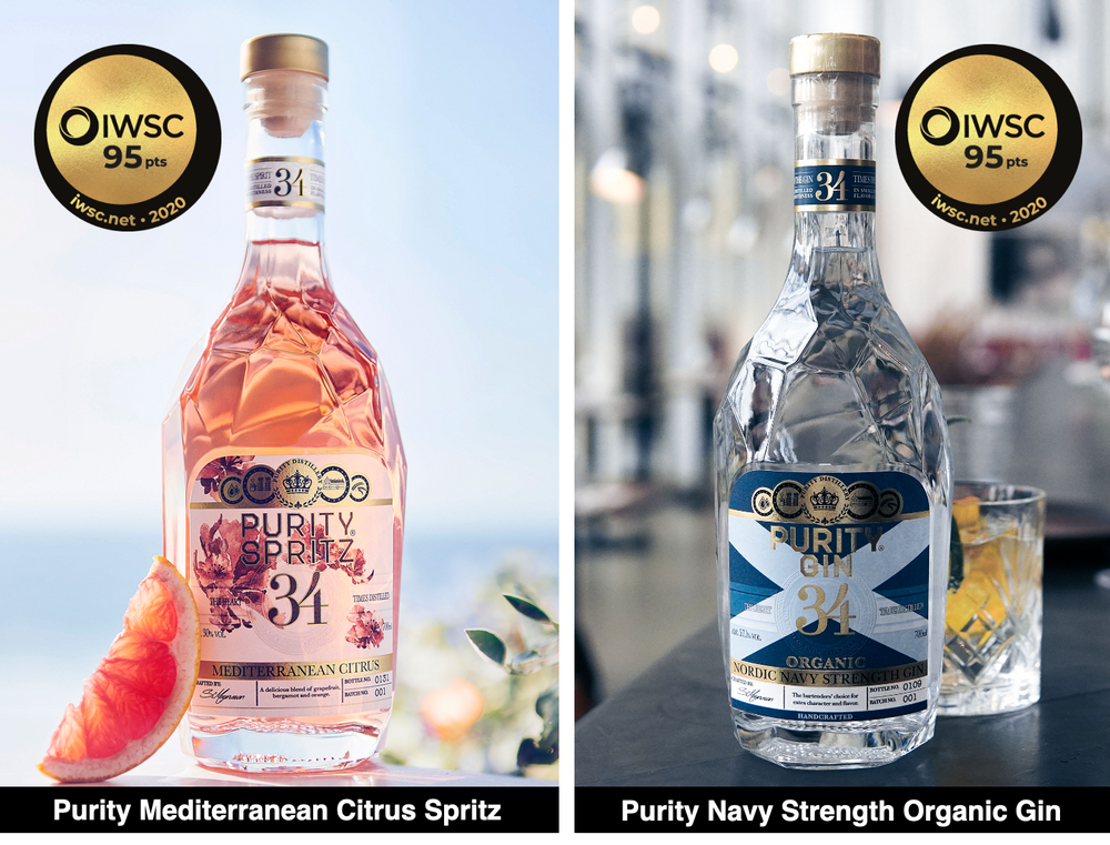 Purity was awarded TWO gold medals at this years International Wine & Spirit Competition. The IWSC, is recognized as one of the most prestigious competitions in wine and spirits industry.   The NEW Purity Mediterranean Citrus Spritz as well as Purity Navy Strength Organic Gin, both earned a 95 point score and Gold Medal in their respective categories.