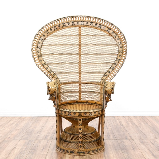 Bohemian Chic Vintage 70s Rattan Peacock Chair Loveseat