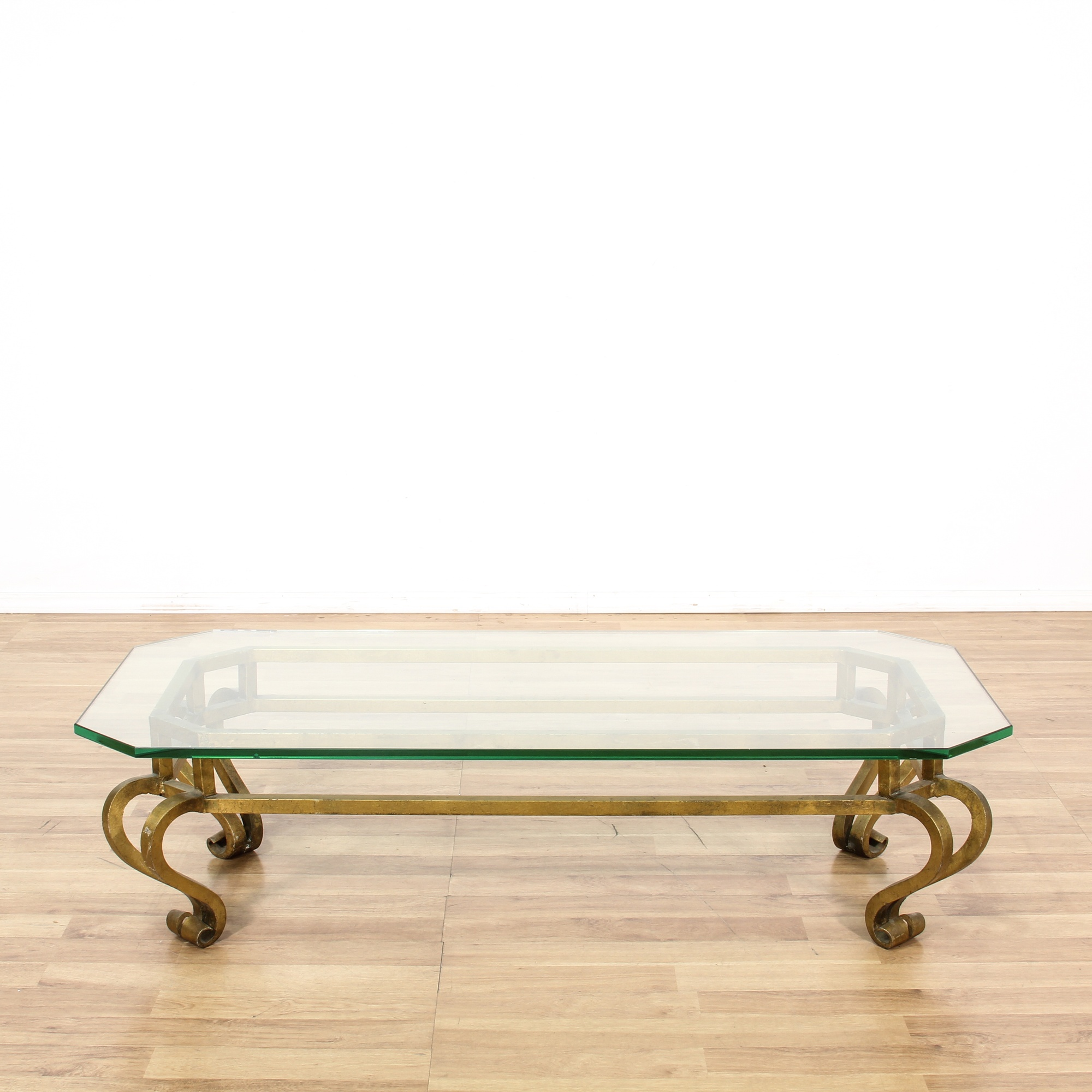 gold metal frame glass top coffee table loveseat vintage