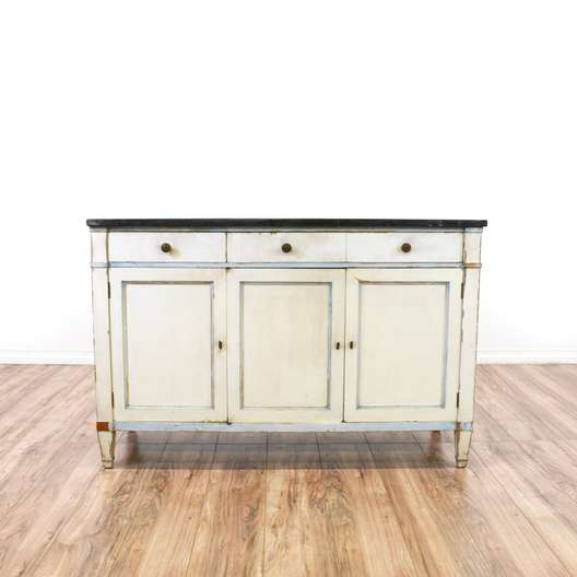 Distressed White Buffet Dresser w/ Marble Top