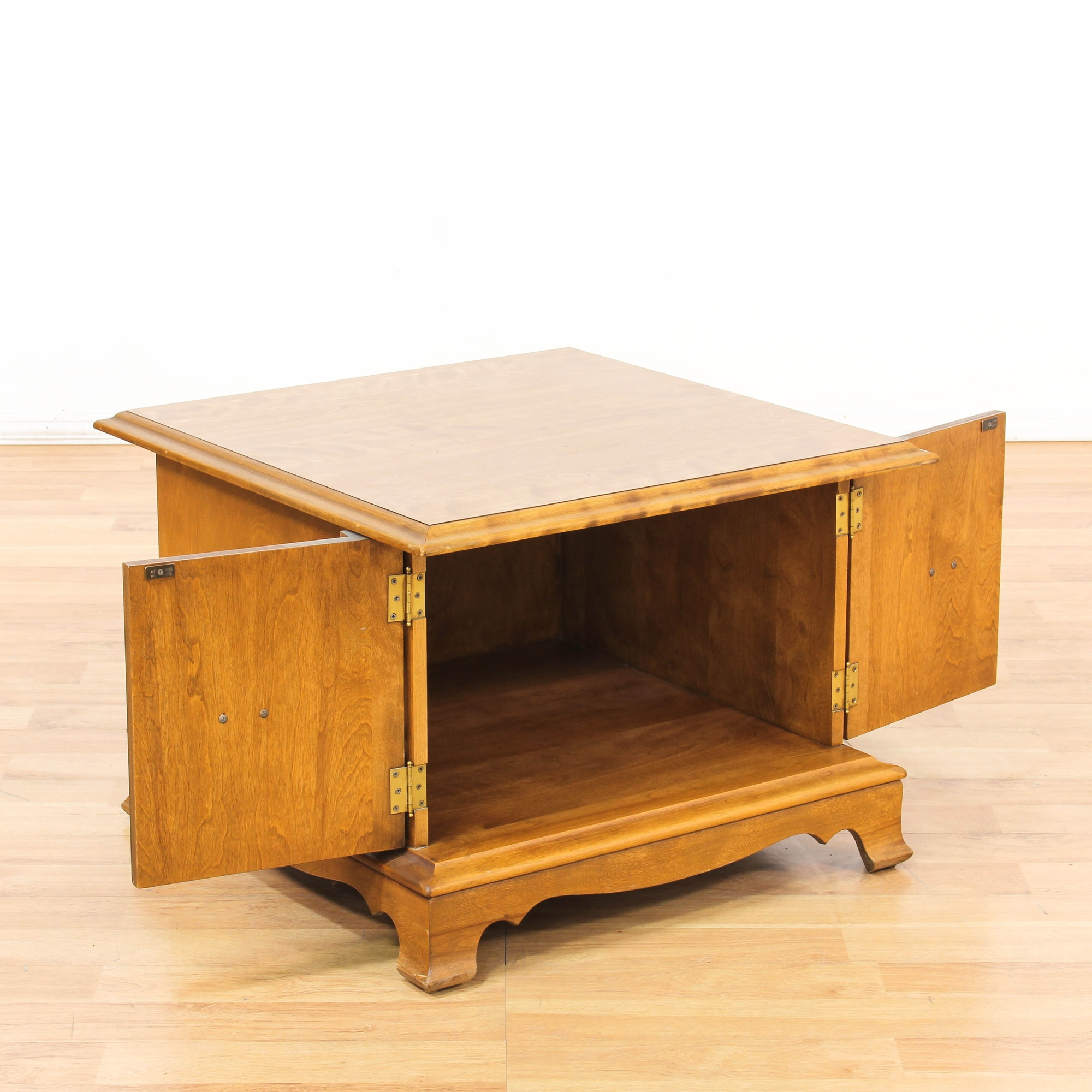 Maple stained square end table w storage loveseat for G furniture los angeles
