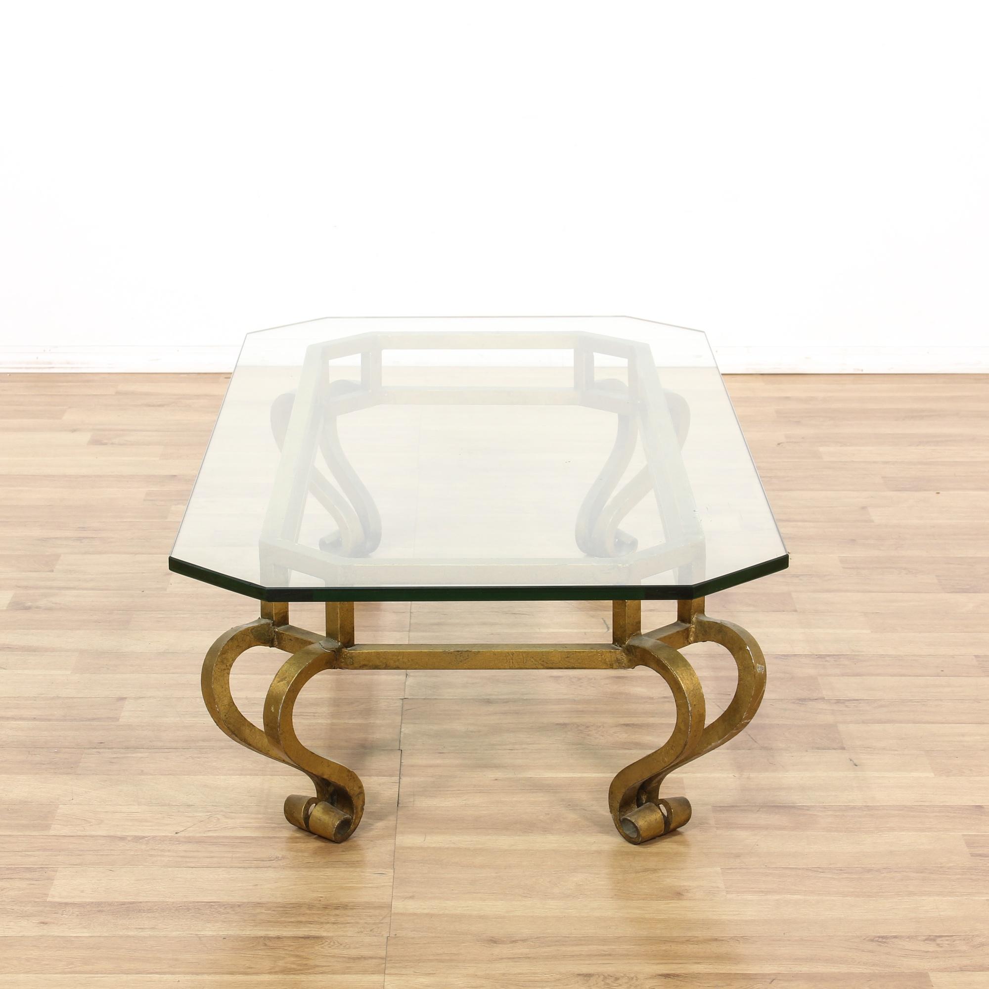 Gold Metal Frame Glass Top Coffee Table Loveseat Vintage Furniture San Diego Los Angeles