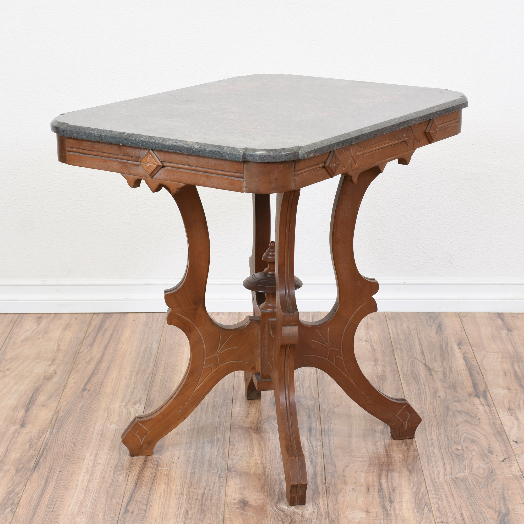Marble And Carved Wood Accent Table: Carved Wood Eastlake Stone Marble Top Side Table