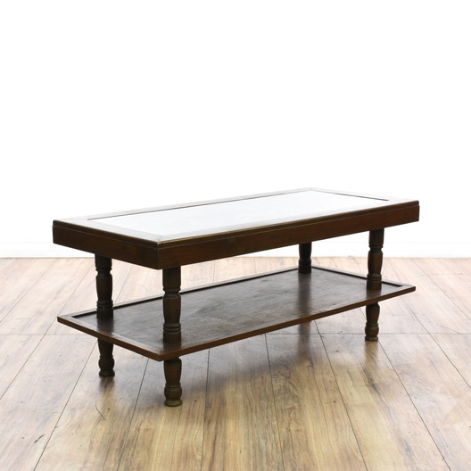 Carved Coffee Table Glass Top Chinese: Asian Carved Wood Glass Top 2 Tier Coffee Table