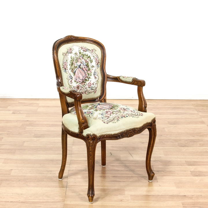 Teal Green Floral Upholstered Accent Chair 2 Loveseat