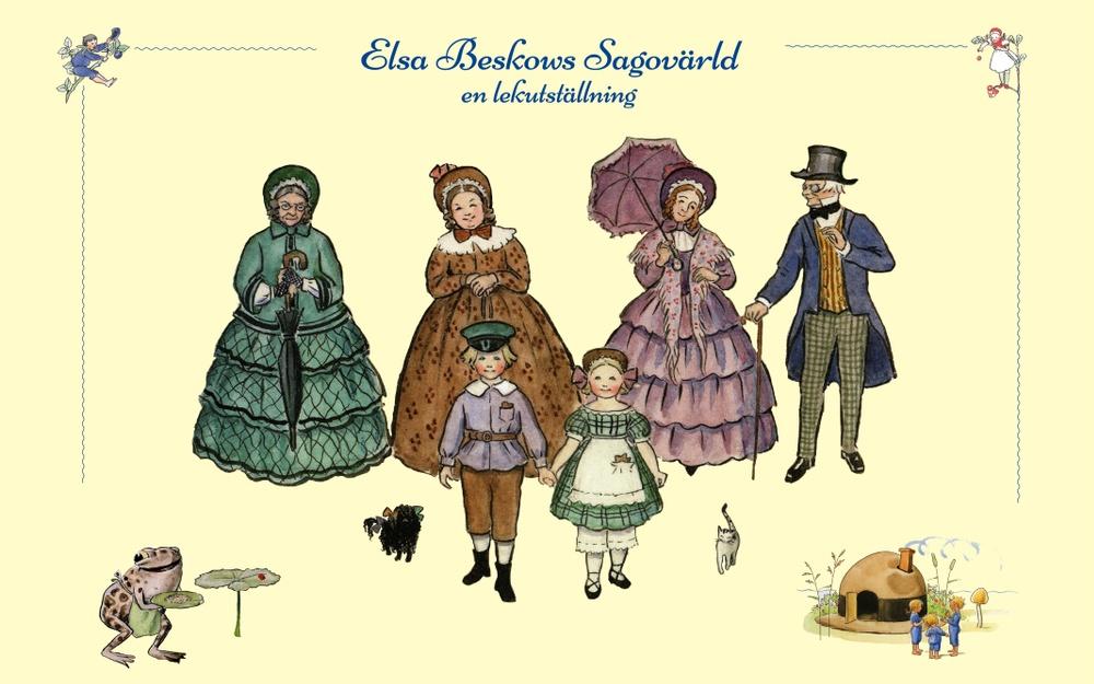 Elsa Beskows sagovärld – en lekutställning. Illustrationer © Elsa Beskow, collage av Kulturen.
