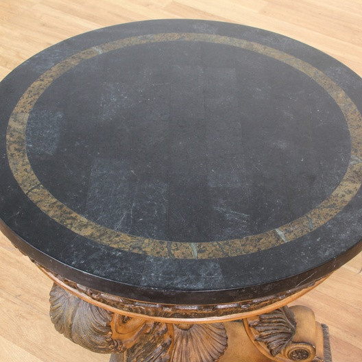 Marble And Carved Wood Accent Table: Round Marble Top End Table W/ Carved Wood