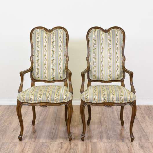 """Pair of """"Karges"""" Floral Striped Chairs"""