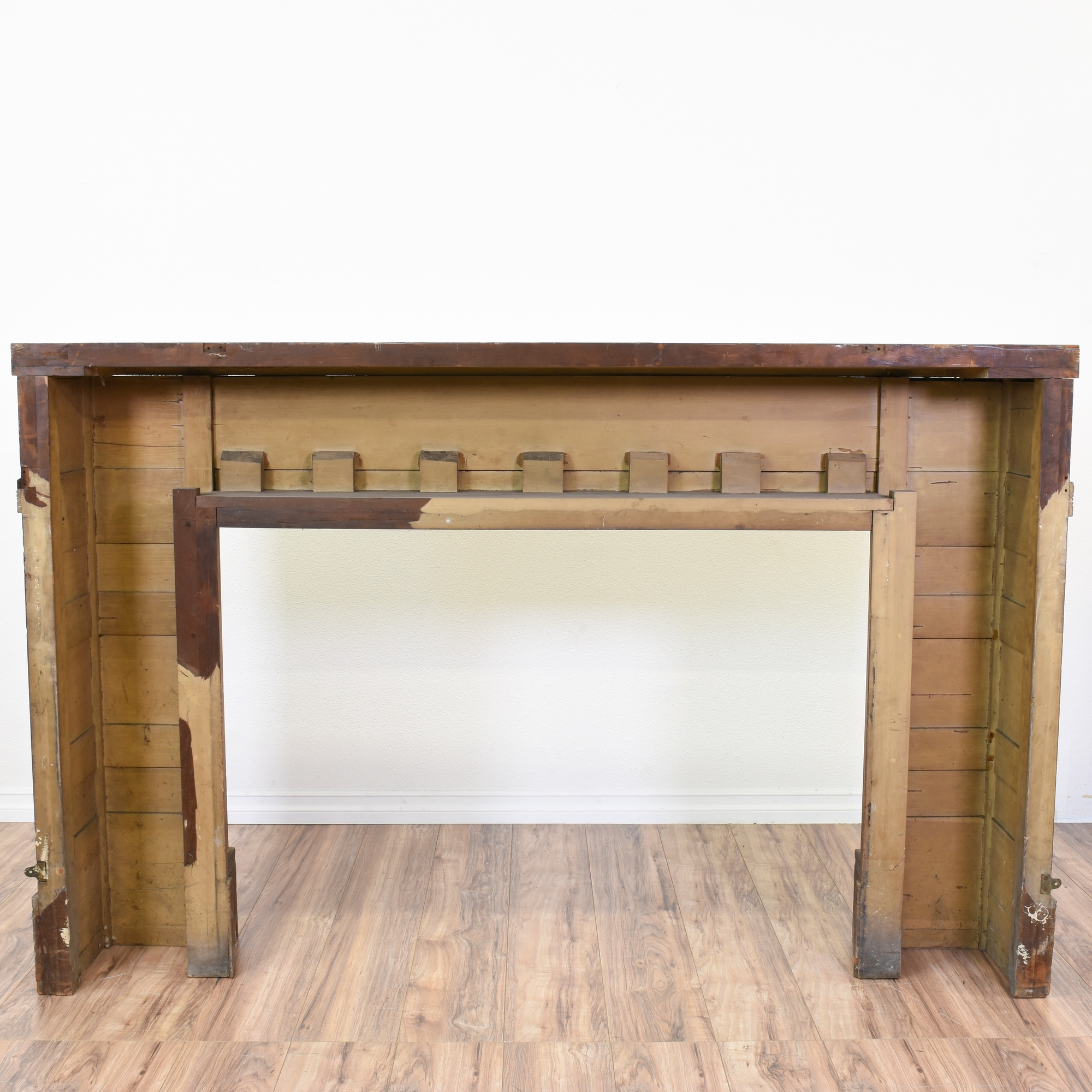 Antique eastlake carved wood fireplace mantel loveseat for Reclaimed wood furniture los angeles