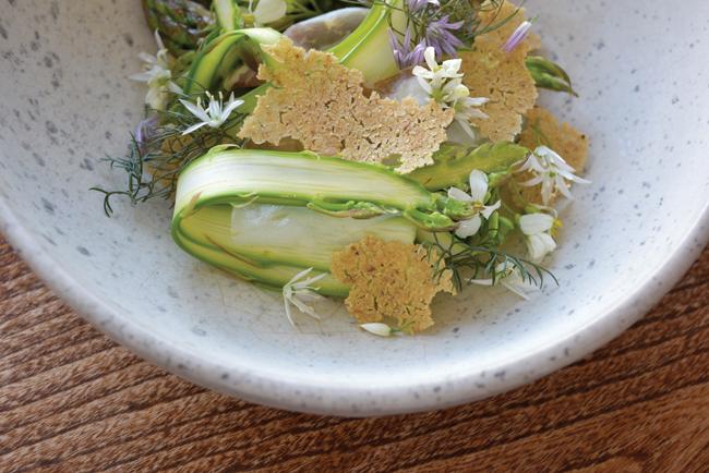Scottish asparagus, sowans and ham far