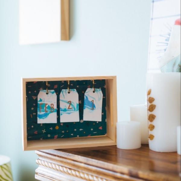 December - Marbled Stationery + Wood Desk Calendar with Marbled Paper
