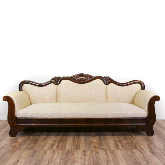 Antique Victorian Floral Pink Carved Sofa