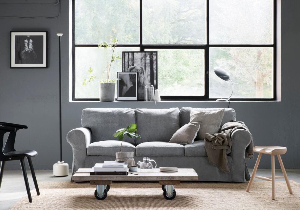 Bemz cover for Ektorp 3 seater sofa, fabric: Malmen Velvet Zinc Grey. Styled by Pella Hedeby. Photographer Sara Medina Lind.