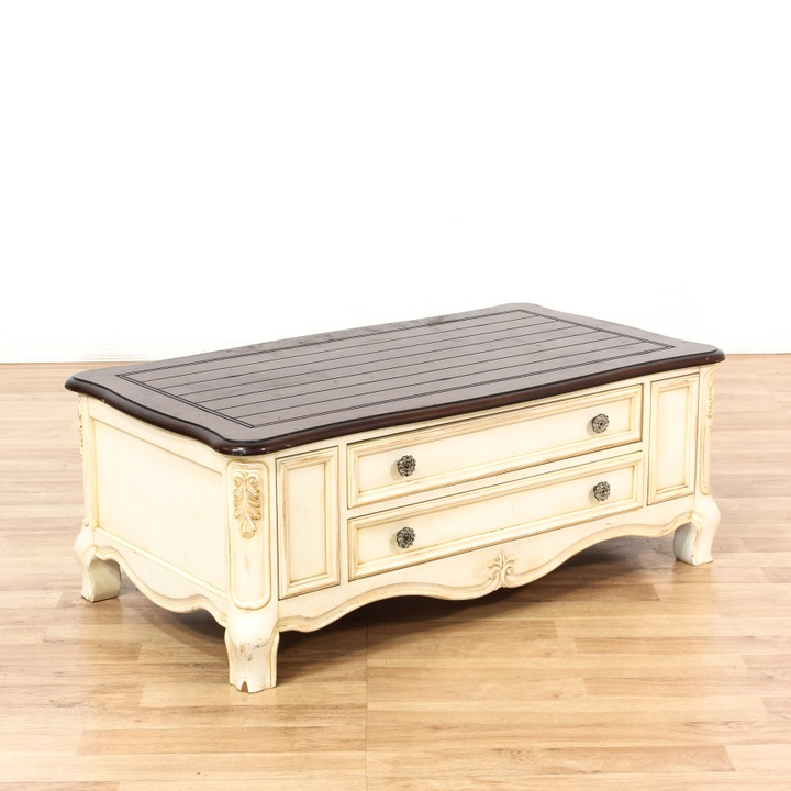 Oval Glass Top Wood Coffee Table