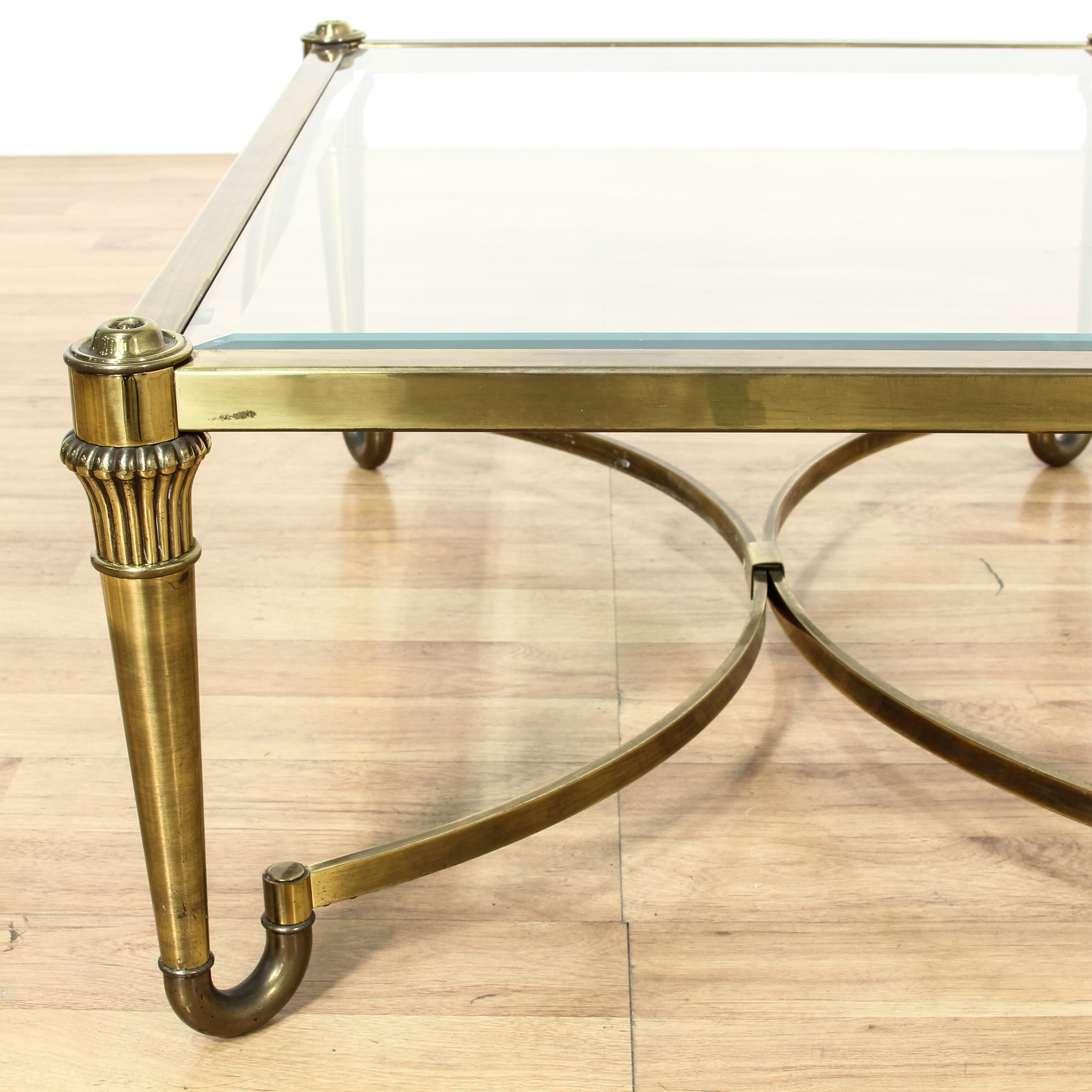 Brass Hollywood Regency Glass Top Coffee Table