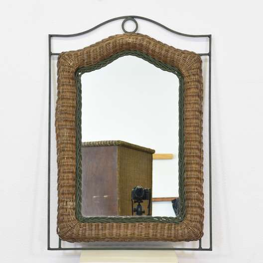 Woven Wicker and Metal Mirror