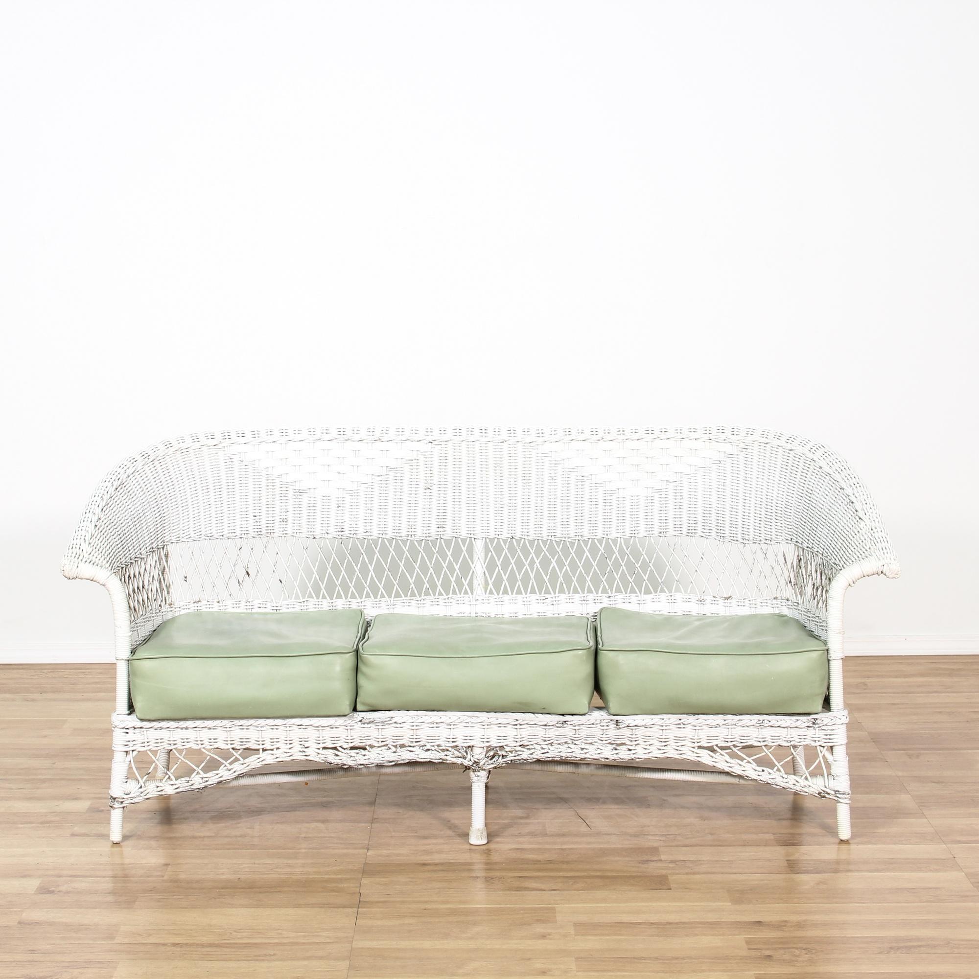 Cottage Chic White Wicker Loveseat Sofa Loveseat Vintage Furniture San Diego Los Angeles